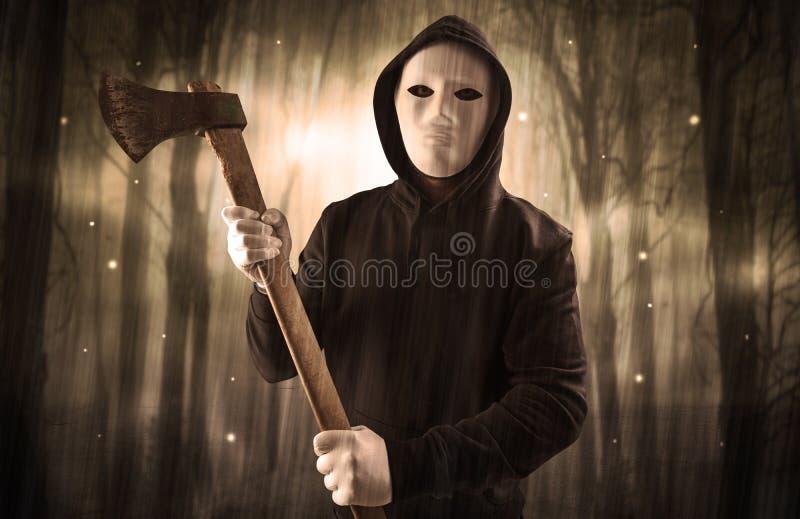 Armed Hitman In Dark Nocturnal Forest Concept Stock Photo Image Of Hood Burglar 142916376