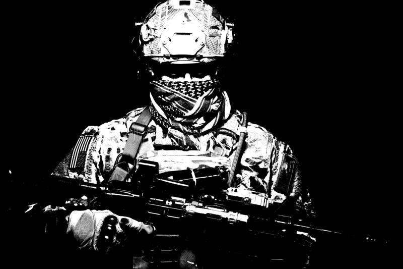 Armed marine rider portrait with hidden face. US Marine Corps soldier, army special forces fighter, modern combatant in camouflage uniform, battle helmet stock images
