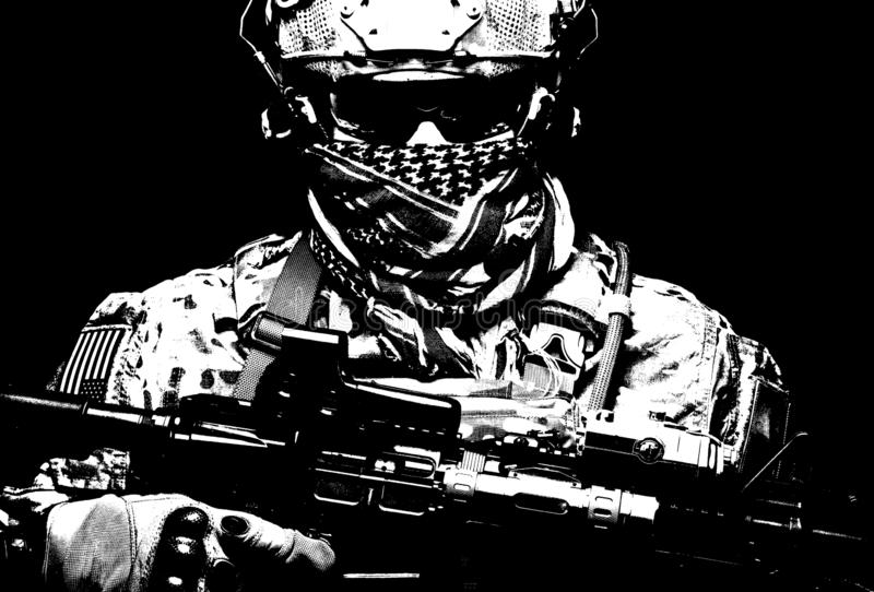 Armed marine rider portrait with hidden face. US Marine Corps soldier, army special forces fighter, modern combatant in camouflage uniform, battle helmet stock photo