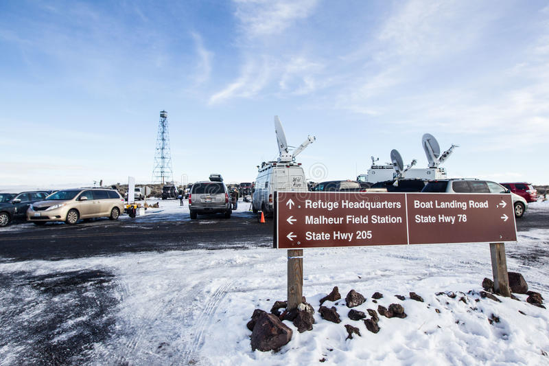 Oregon Armed Militia Standoff - Malheur Wildlife Refuge. The entrance to the Malheur Wildlife Refuge, located 30 miles south of Burns, Oregon is the location of royalty free stock photo