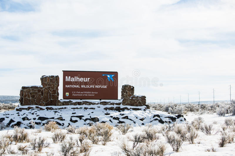 Oregon Armed Militia Standoff - Malheur Wildlife Refuge. The Malheur Wildlife Refuge, located 30 miles south of Burns, Oregon is the location of an armed royalty free stock image