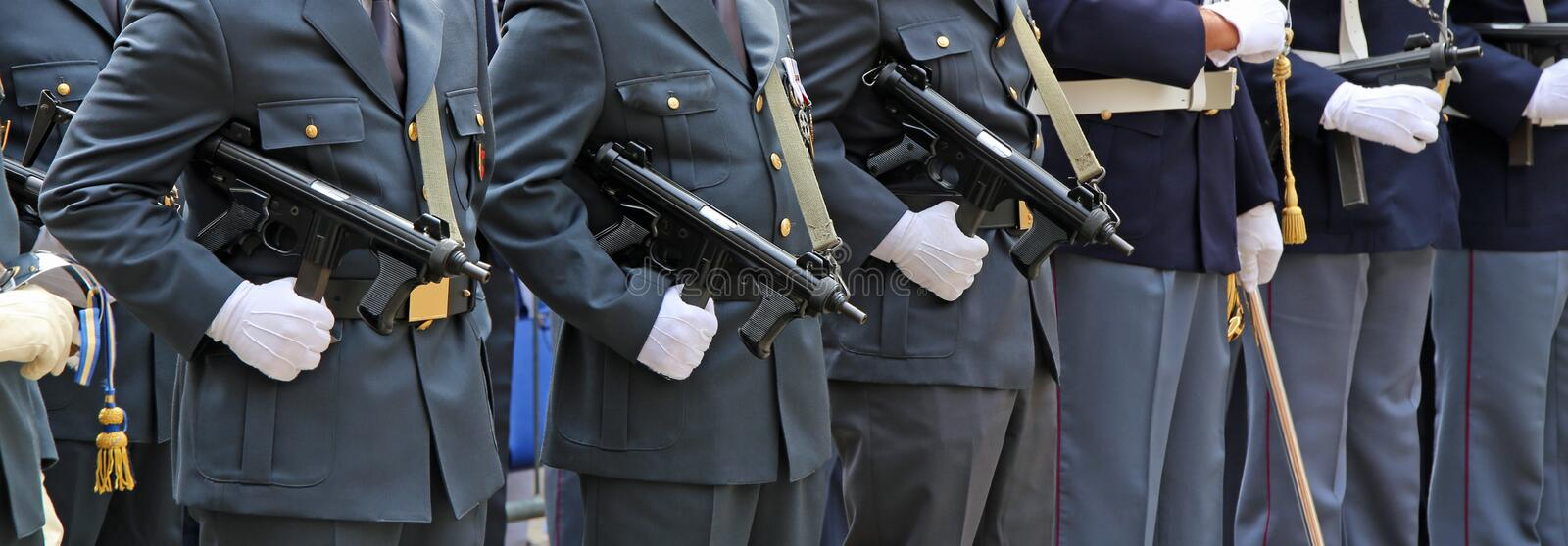 Armed officers of the Italian police in uniform. During the parade for the celebration of the Italian armed forces stock photo