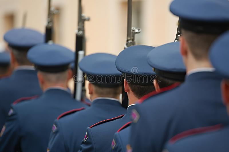 Armed palace guards. In Prague stock photos