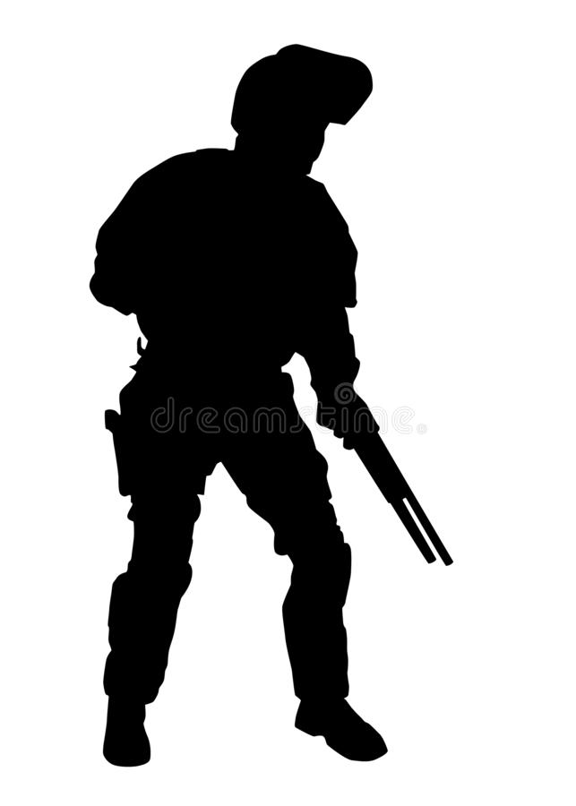 Armed policeman in anti-riot helmet black silhouette. Police special forces officer, SWAT team shooter in riot protection helmet with flipped up visor, standing stock illustration