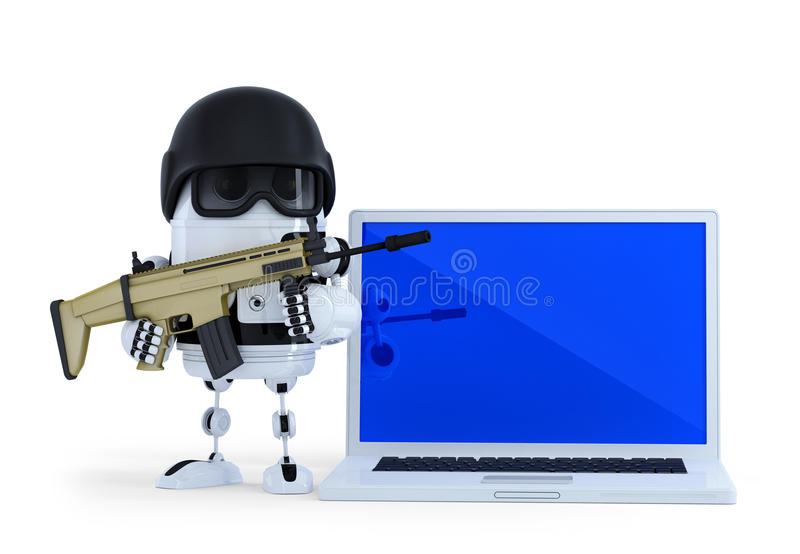 Armed robot with laptop. Techology security concept. Isolated. Contains clipping path. Armed robot with laptop. Techology security concept. Isolated on white vector illustration