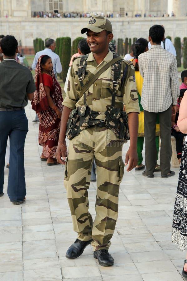 Armed security officer. Taj Mahal, India. stock photo