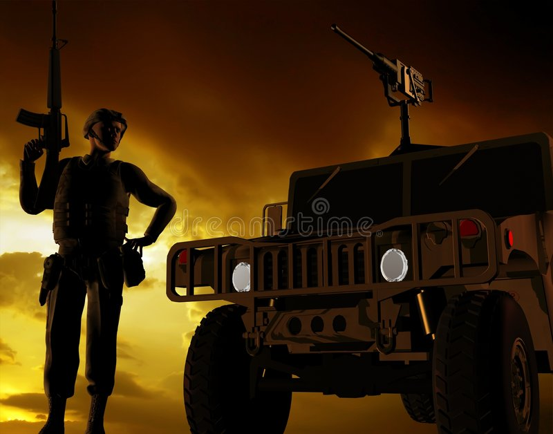 Download The armed soldier stock illustration. Image of soldier - 7765703