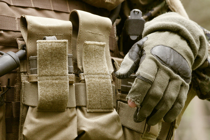 Armed U.S. Marine. Detail of an armed U.S. Marine corps soldier royalty free stock image