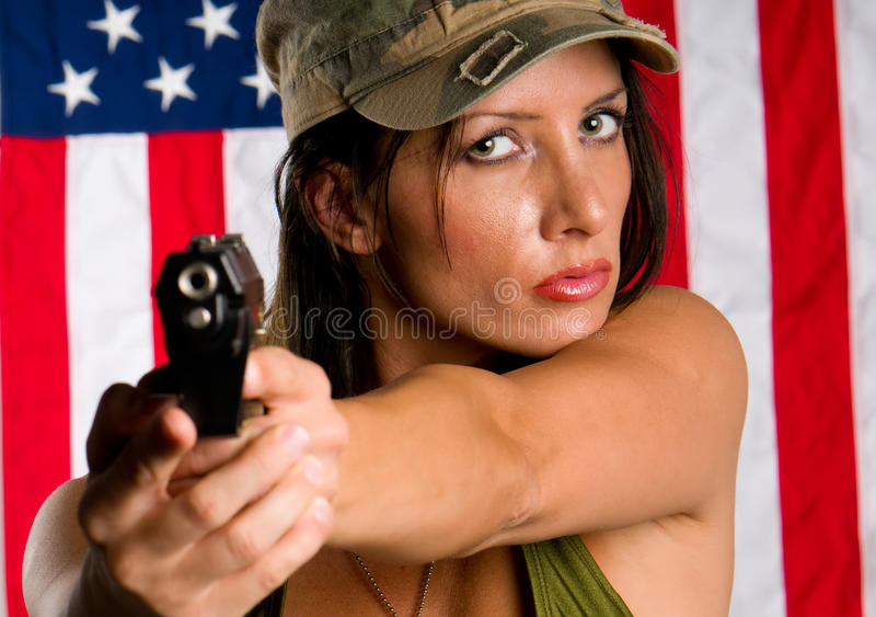 Armed woman royalty free stock photography