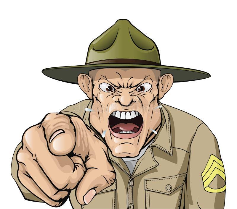 Armee-Bohrgerätsergeantschreien der Karikatur verärgertes lizenzfreie abbildung