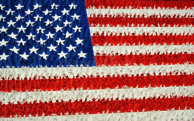 Armee-Mann-amerikanische Flagge lizenzfreies stockbild