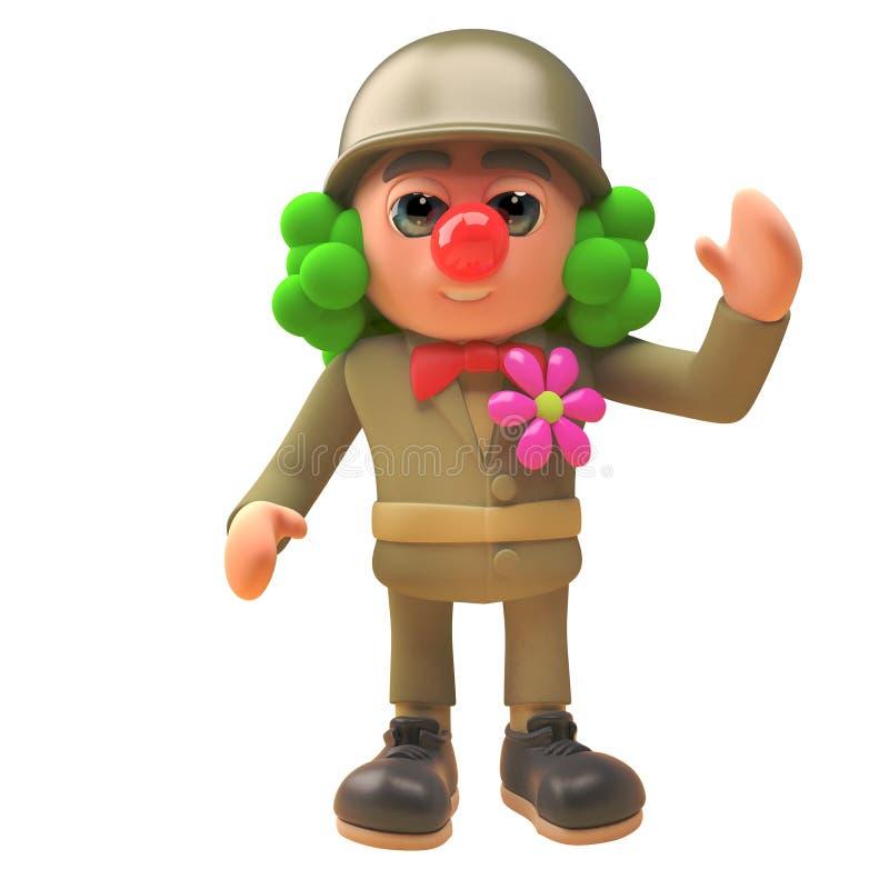 Armee-Soldatcharakter der Karikatur 3d in der Uniform und als Clown mit roter Nase und Perücke, Illustration 3d gekleidet lizenzfreie abbildung