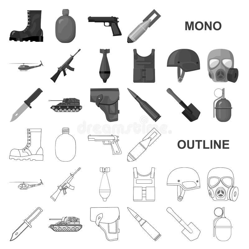 Armee und Bewaffnung monochrom Ikonen in gesetzter Sammlung für Entwurf Waffen und Ausrüstungsvektorsymbolvorratnetz lizenzfreie abbildung