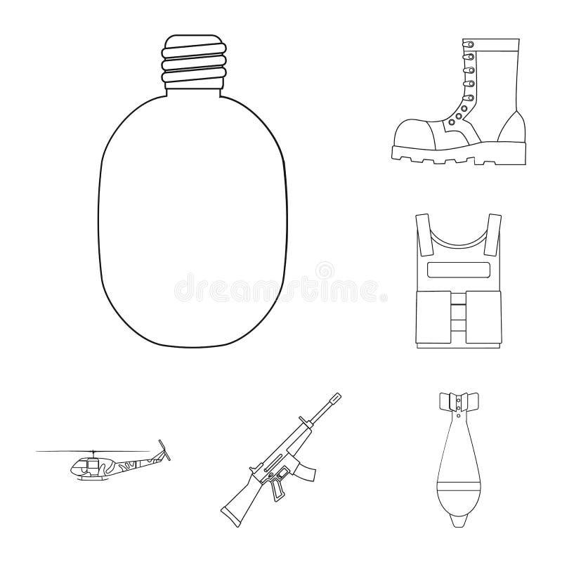Armee und Bewaffnung umreißen Ikonen in der Satzsammlung für Design Waffen und Ausrüstung vector Netzillustration des Symbols auf stock abbildung