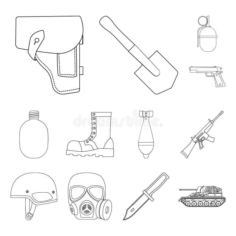 Armee und Bewaffnung umreißen Ikonen in der Satzsammlung für Design Waffen und Ausrüstung vector Netzillustration des Symbols auf lizenzfreie abbildung