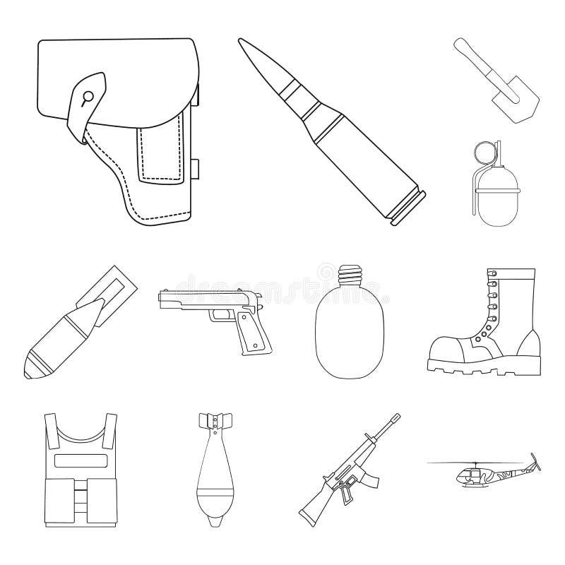 Armee und Bewaffnung umreißen Ikonen in der Satzsammlung für Design Waffen und Ausrüstung vector Netzillustration des Symbols auf vektor abbildung