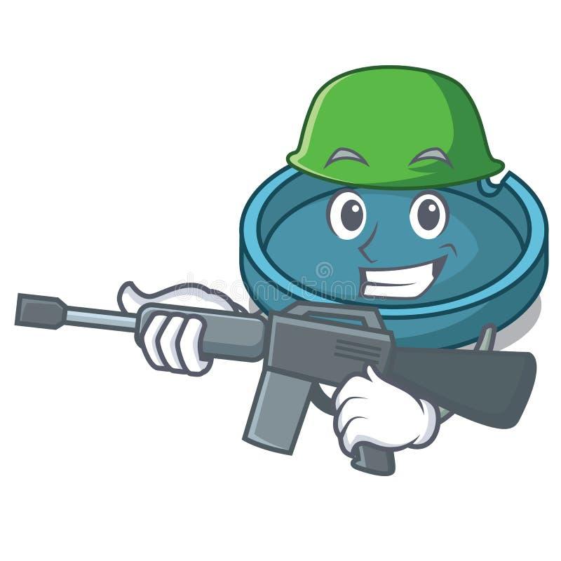 Armeeaschenbechercharakter-Karikaturart stock abbildung