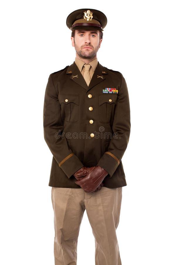 Armeemannaufstellung lokalisiert auf Weiß lizenzfreie stockfotografie