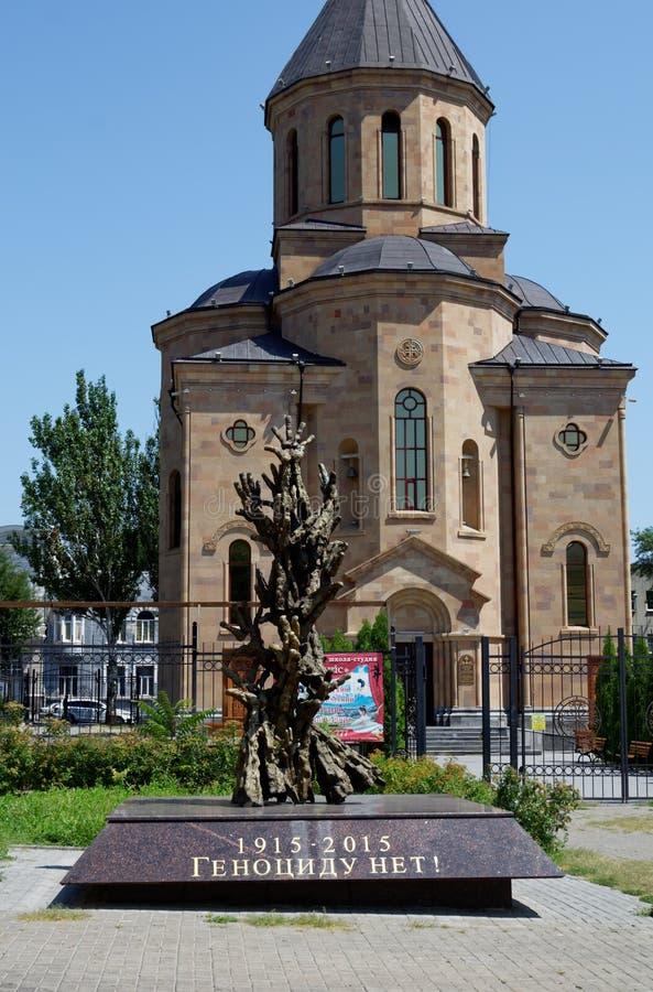 Armeense Apostolische kerk Surb Arutyun Monument aan slachtoffers van Armeense volkerenmoord Rostov-op-trek, Rusland aan 2 august royalty-vrije stock foto's