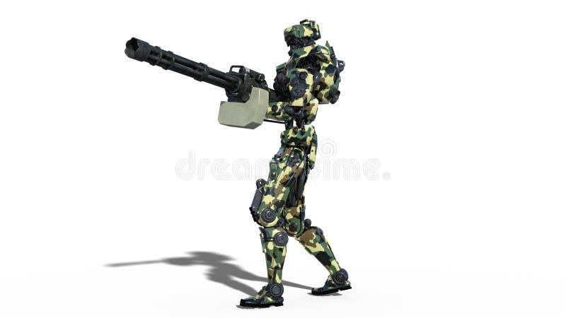 Armeeroboter, Cyborg der bewaffneten Kräfte, das militärische androide Soldatschießenmaschinengewehr, das auf weißem Hintergrund  vektor abbildung