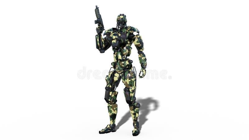 Armeeroboter, Cyborg der bewaffneten Kräfte, der militärische androide Soldat, der Gewehr lokalisiert auf weißem Hintergrund hält lizenzfreie abbildung