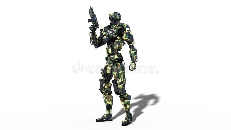 Armeeroboter, Cyborg der bewaffneten Kräfte, militärischer androider Soldat bewaffnete mit dem Gewehr, das auf weißem Hintergrund lizenzfreie abbildung