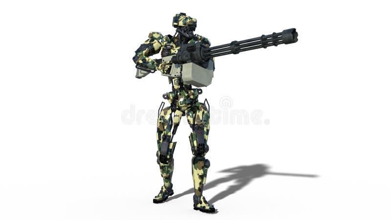 Armeeroboter, Cyborg der bewaffneten Kräfte, militärisches androides Soldatschießenmaschinengewehr auf weißem Hintergrund, 3D übe stock abbildung
