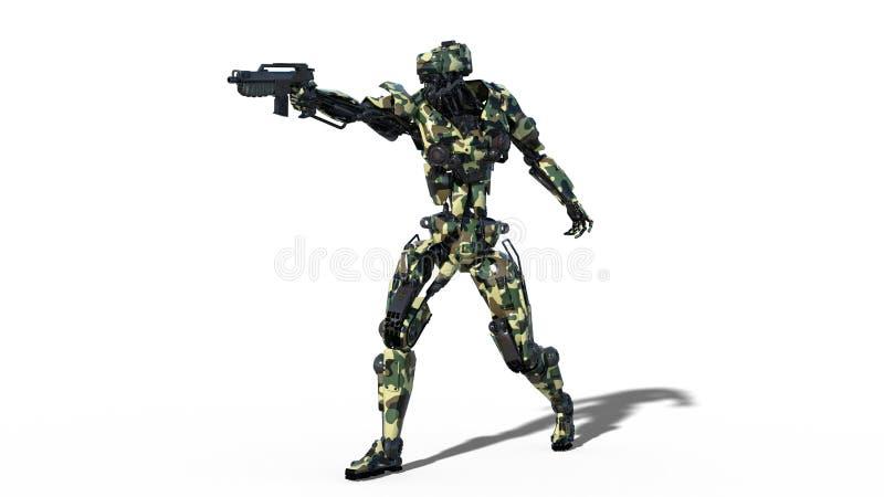 Armeeroboter, Cyborg der bewaffneten Kräfte, zielendes und schießendes Gewehr des militärischen androiden Soldaten auf weißem Hin stock abbildung