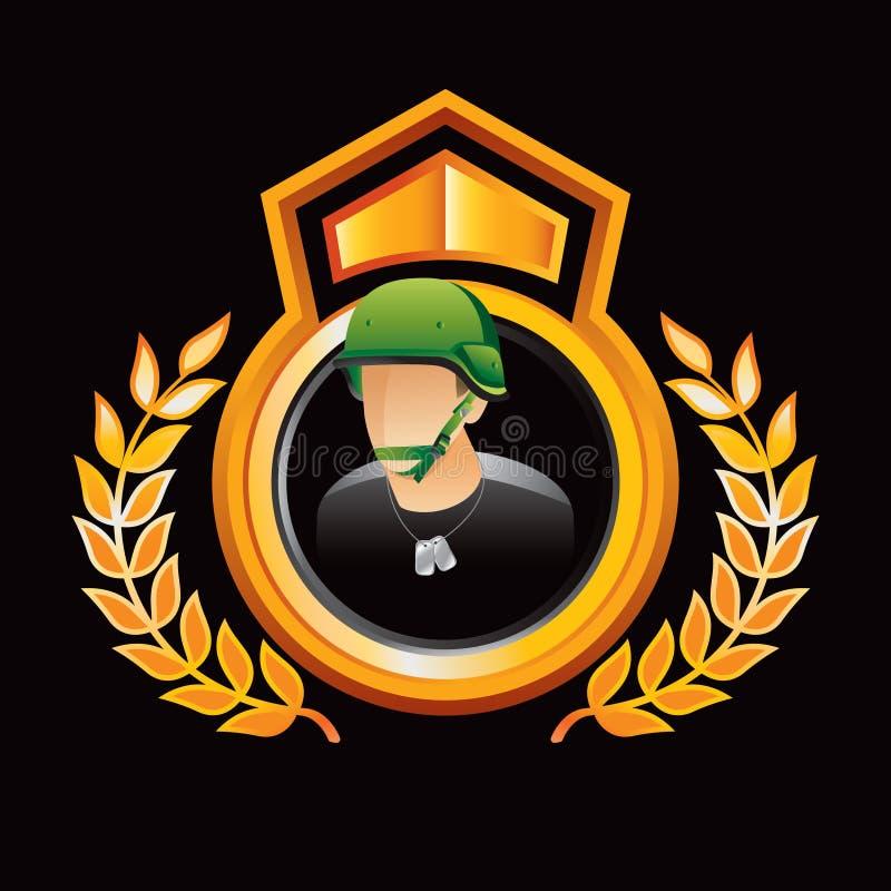 Armeesoldat in der Goldköniglichen Bildschirmanzeige lizenzfreie abbildung
