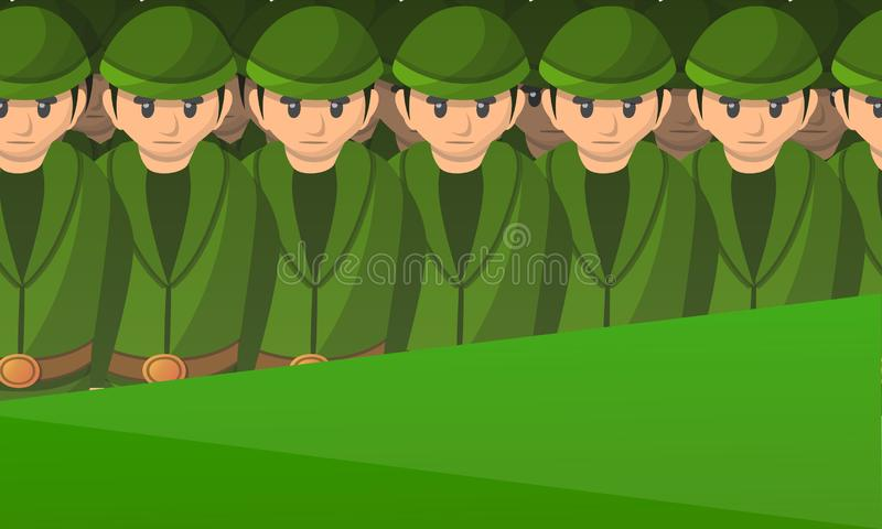 Armeesoldat-Konzeptfahne, Karikaturart stock abbildung
