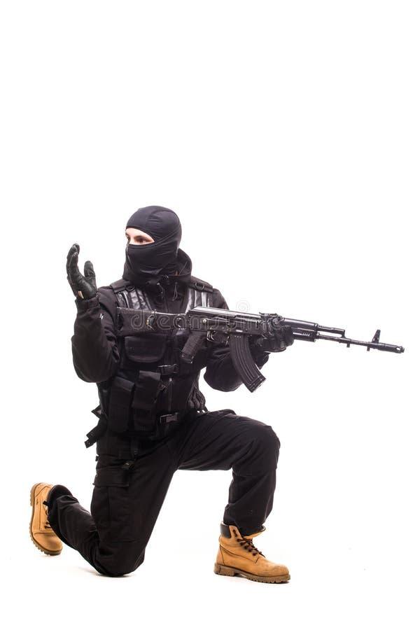 Armeesoldatmannporträt-Showzeichen, sich auf dem Studio zu verschieben lokalisiert auf weißem Hintergrund lizenzfreie stockbilder