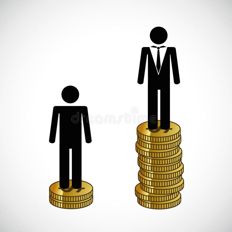 Armen en rijke mantribune op een infographic toren van geld vector illustratie