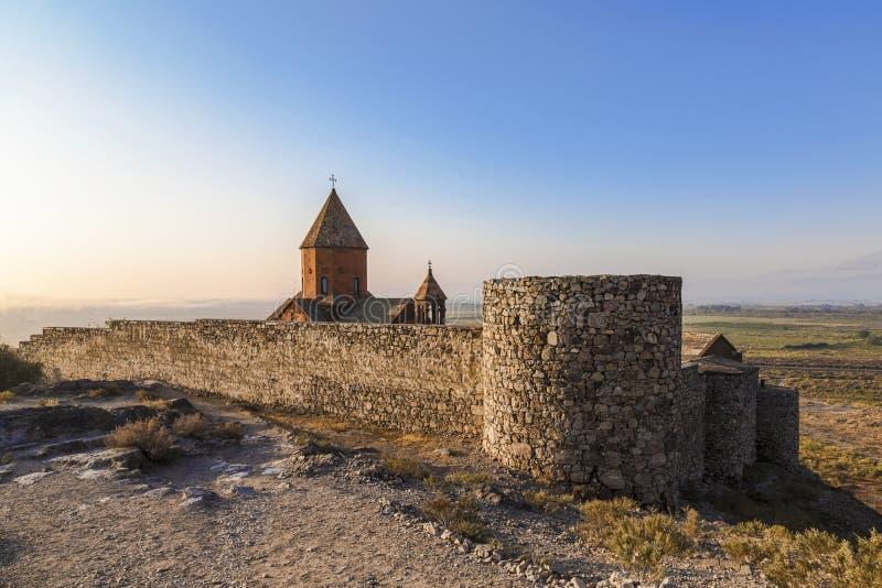 Armenië, Ararat-vallei, het klooster van Khor Virap dichtbij de grens met Turkije stock fotografie
