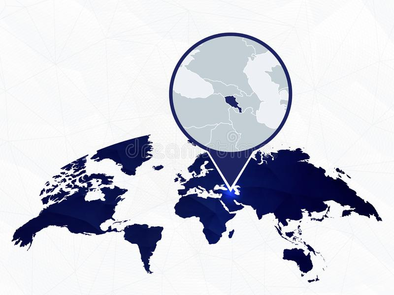 Armenië gedetailleerde die kaart op blauwe rond gemaakte Wereldkaart wordt benadrukt stock illustratie