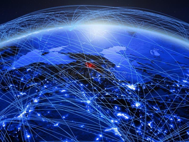 Armenië op blauwe digitale aarde met internationaal netwerk die mededeling, reis en verbindingen vertegenwoordigen 3d stock afbeeldingen