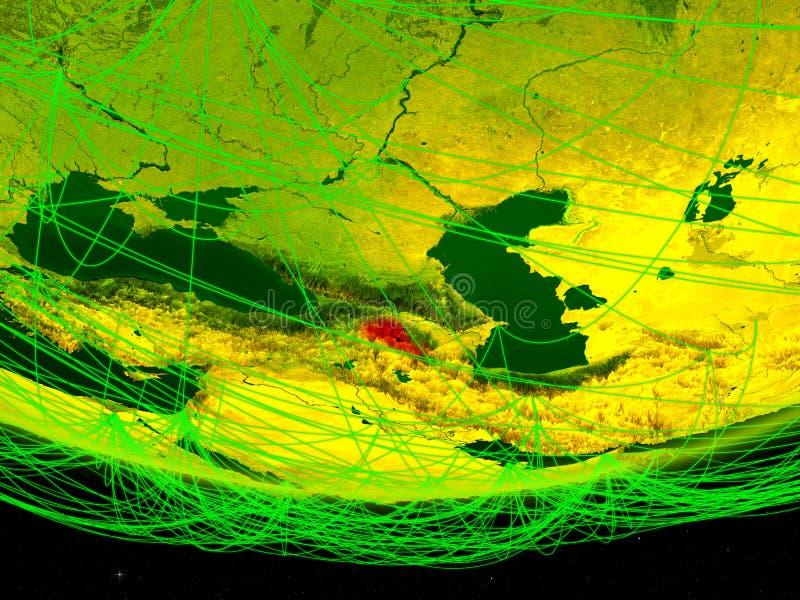 Armenië op groen model van aarde met netwerk die digitaal tijdperk, reis en mededeling vertegenwoordigen 3D Illustratie elementen stock foto's