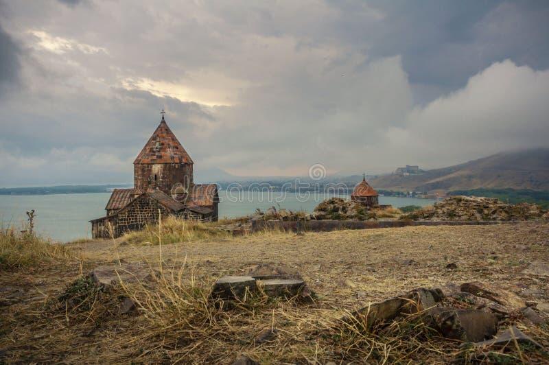 Armenië, Sevanavank-complex klooster Weergeven op Kerken royalty-vrije stock foto