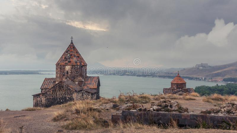Armenië, Sevanavank-complex klooster Weergeven op Kerken stock foto's
