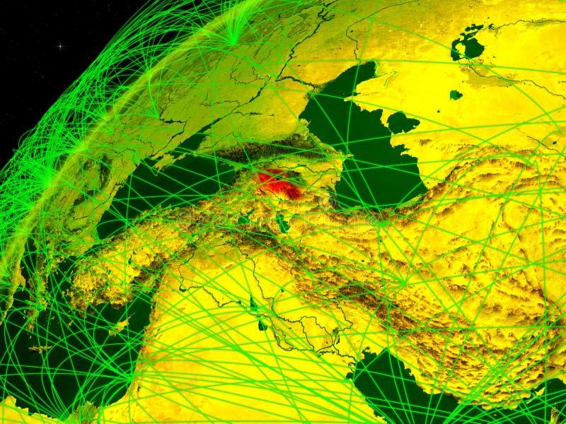 Armenië ter wereld met netwerk stock illustratie