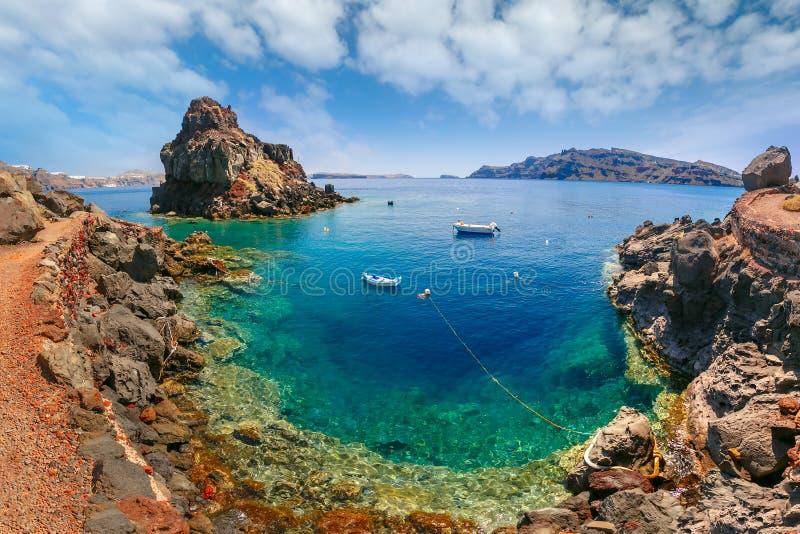 Armeni海湾海滩、Oia或者Ia,圣托里尼,希腊 库存图片