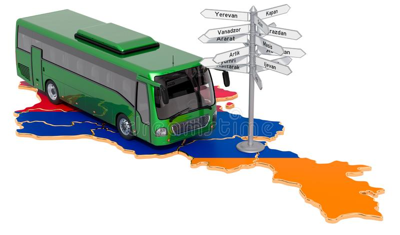 Armenia Bus Tours concept. 3D rendering. Isolated on white background royalty free illustration