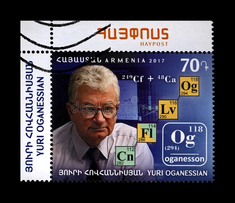 Yuri Oganessian, founder of the superheavy chemical element oganesson, Armenia, circa 2017,. ARMENIA - CIRCA 2017: canceled stamp printed in Armenia shows stock image