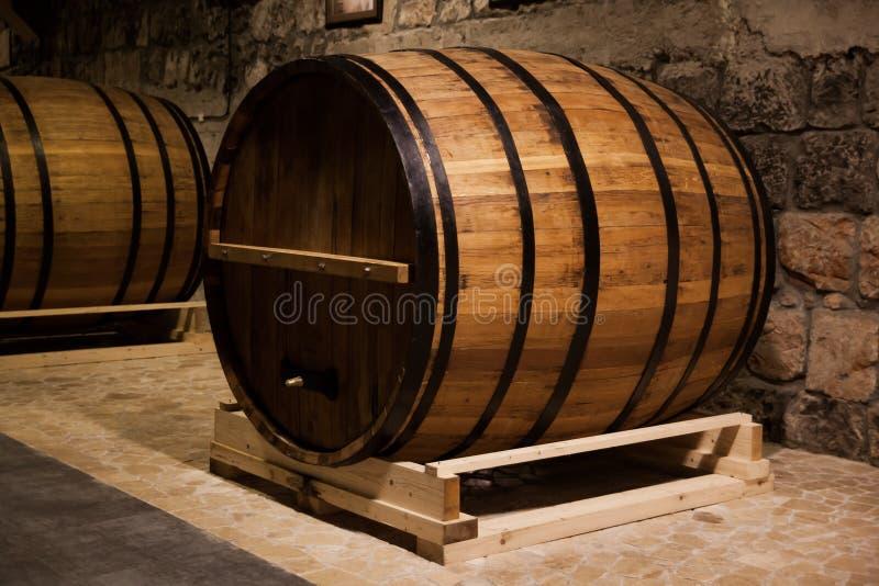 Armenia, cognac barrels. Cognac barrels in cellar old factory in Yerevan Armenia royalty free stock photo