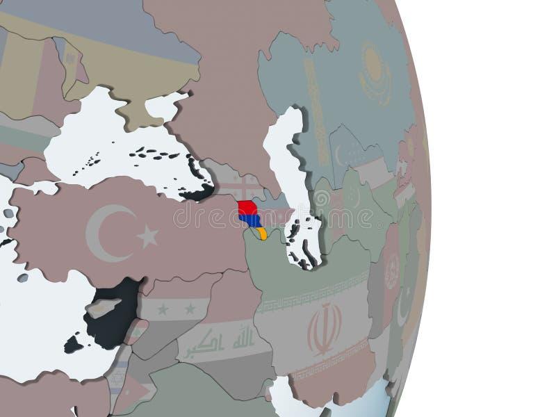 Armenia con la bandera en el globo stock de ilustración