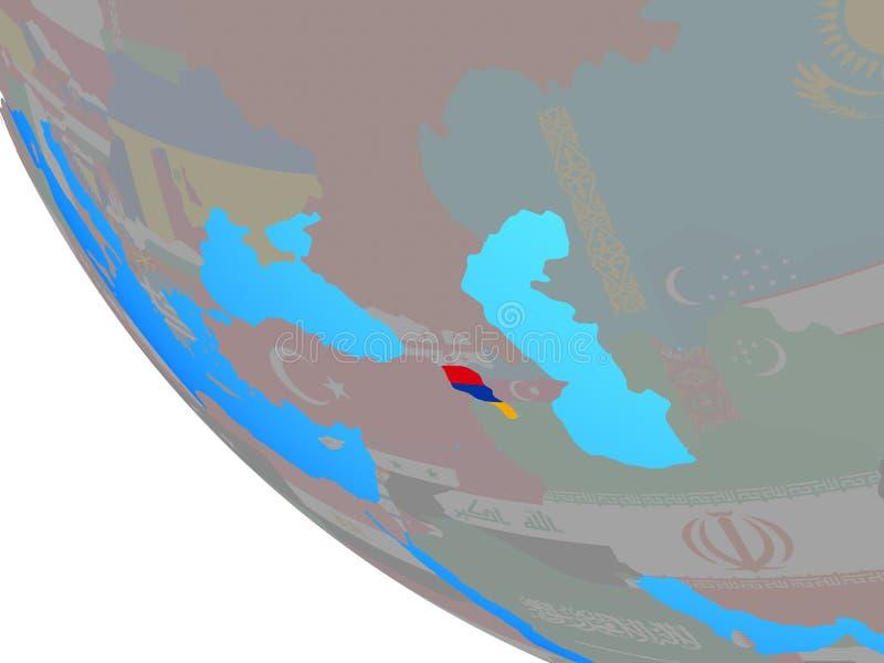 Armenia con la bandera en el globo ilustración del vector