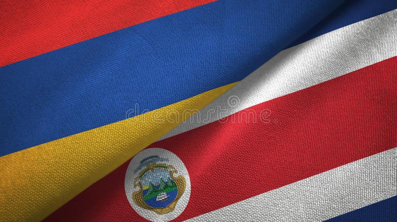 Armenia and Costa Rica two flags textile cloth, fabric texture royalty free illustration