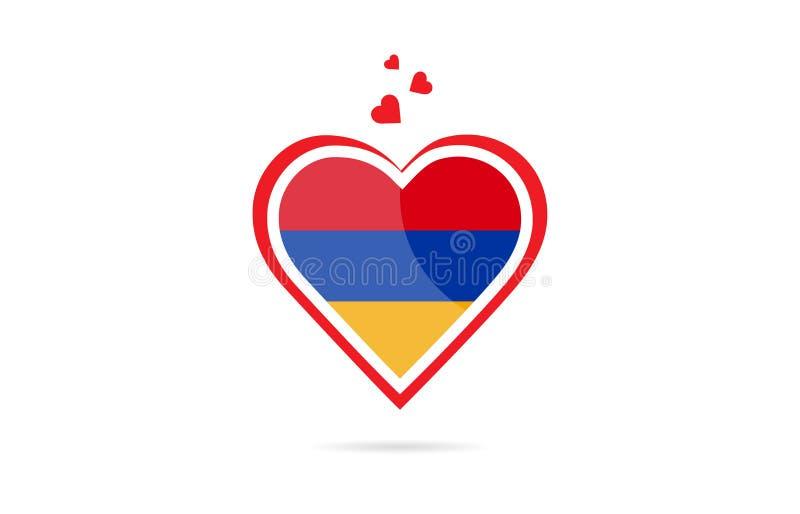 Armenia country flag inside love heart creative logo design stock illustration