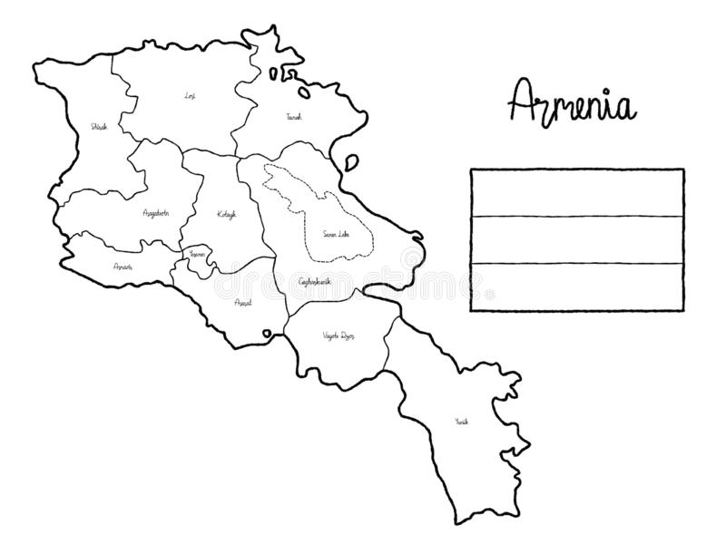 Armenia Country Map Flag Vector Illustration Hand Drawn Cartoon Art royalty free illustration