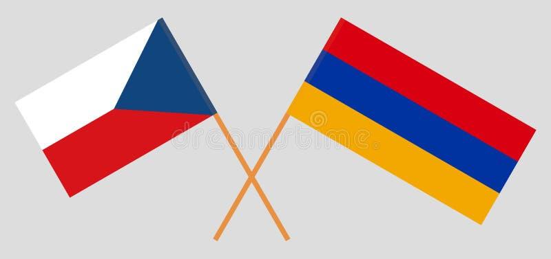 Armenia and Czech Republic. Armenian and Czech flags stock illustration
