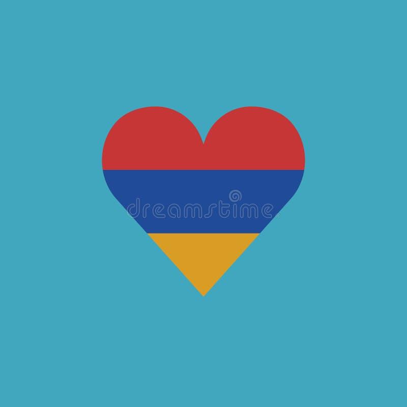 Armenia flag icon in a heart shape in flat design stock illustration